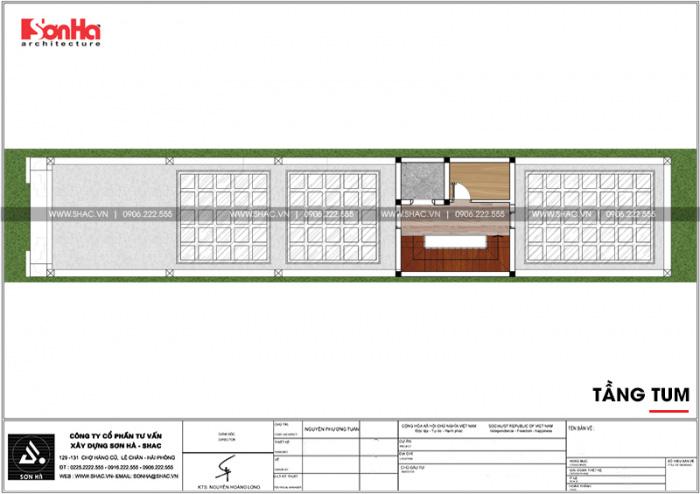 Bản vẽ mặt bằng công năng tầng tum nhà ống kiến trúc Pháp 5x26m tại Vĩnh Phúc