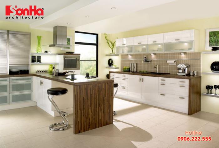 Ấm cũng với mẫu bếp đẹp thiết kế theo phong cách hiện đại