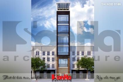 BÌA kiến trúc nhà ống hiện đại đẹp 7 tầng tại hà nội sh nod 0186