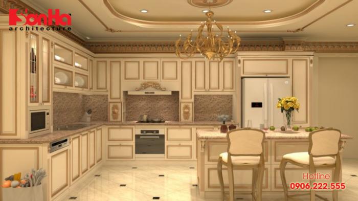 Mẫu bếp đẹp phong cách tân cổ điển rất được gia chủ đánh giá cao