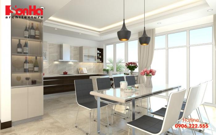 Thiết kế nội thất phòng bếp với gam màu đậm chất hiện đại hợp thời