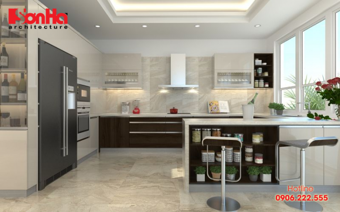 Thiết kế tủ bếp chữ I hài hòa cho phòng bếp có bàn đảo tiện nghi