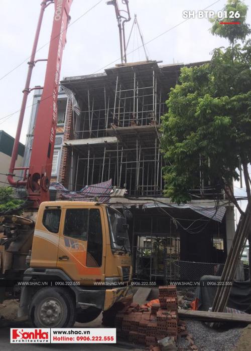 1 Ảnh thực tế thi công biệt thự cổ điển 3 tầng kết hợp kinh doanh tại quảng ninh sh btp 0126