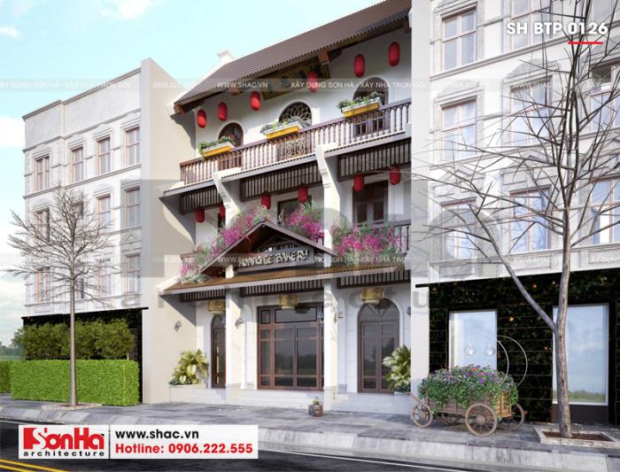 Mẫu thiết kế biệt thự 3 tầng cổ điển phong cách Việt kết hợp kinh doanh