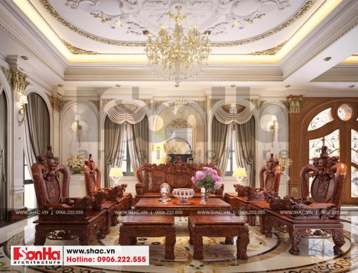 Thiết kế nội thất phòng khách sang trọng đẳng cấp của biệt thự tân cổ điển tại Hải Phòng