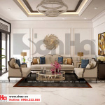 1 Thiết kế nội thất phòng khách biệt thụ tân cổ điển 4 tầng khu đô thị vinhomes hải phòng vhi 0001