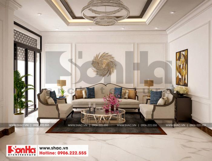 Thiết kế nội thất phòng khách biệt thự tân cổ điển cân đối và hài hòa các đường nét