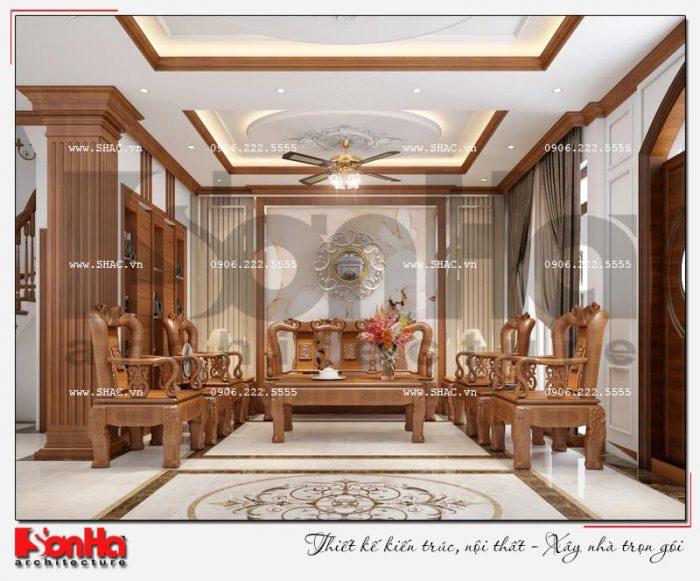 thiết kế nội thất phòng khách biệt thự Vinhomes Imperia đẹp với nội thất gỗ