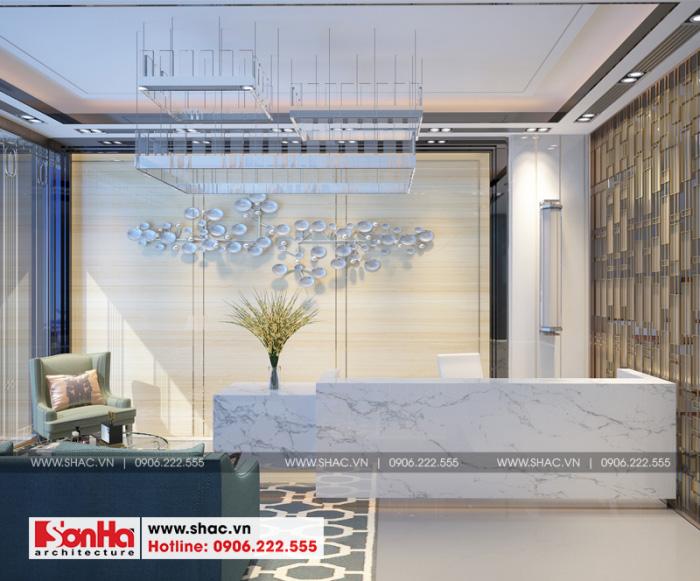 Thiết kế nội thất quầy lễ tân khách sạn mini 2 sao tân cổ điển tại Nam Định