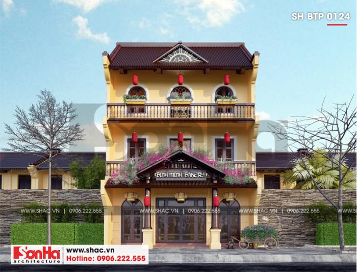 Thiết kế biệt thự kiểu Pháp cổ ấn tượng với gam màu truyền thống bắt mắt