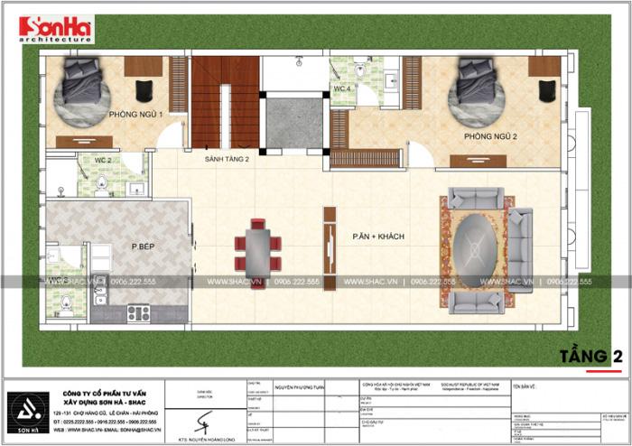 Mặt bằng công năng tầng 2 biệt thự kiểu Pháp cổ kết hợp kinh doanh tại Quảng Ninh