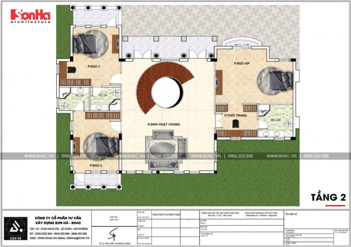 Mặt bằng công năng tầng 2 biệt thự sân vườn tân cổ điển 3 tầng có sân vườn tại Hải Phòng