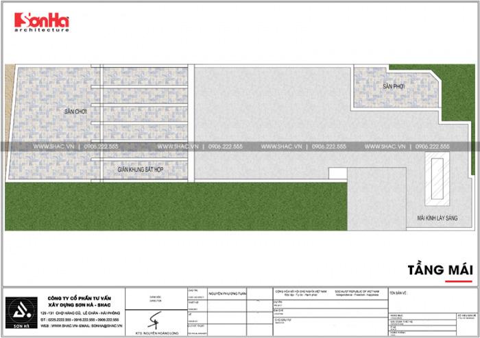 Mặt bằng công năng tầng mái ngôi nhà hình chữ L kết hợp kinh doanh tại Hà Nội