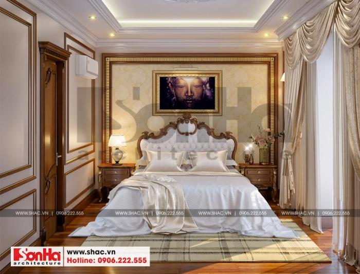 Mỗi phòng ngủ trong không gian ngôi biệt thự 3 tầng tân cổ điển đều mang nét riêng