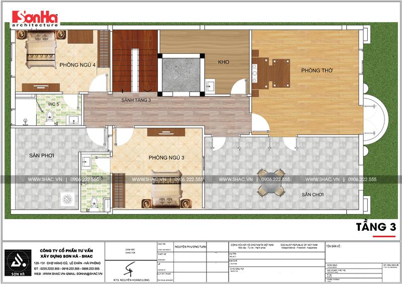 Biệt thự kiểu Pháp 3 tầng kết hợp kinh doanh diện tích 162m2 tại Quảng Ninh – SH BTP 0124 11