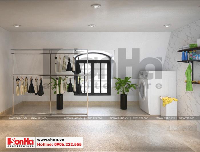 Không gian nội thất của ngôi biệt thự còn được bố trí khu phơi giặt đầy đủ