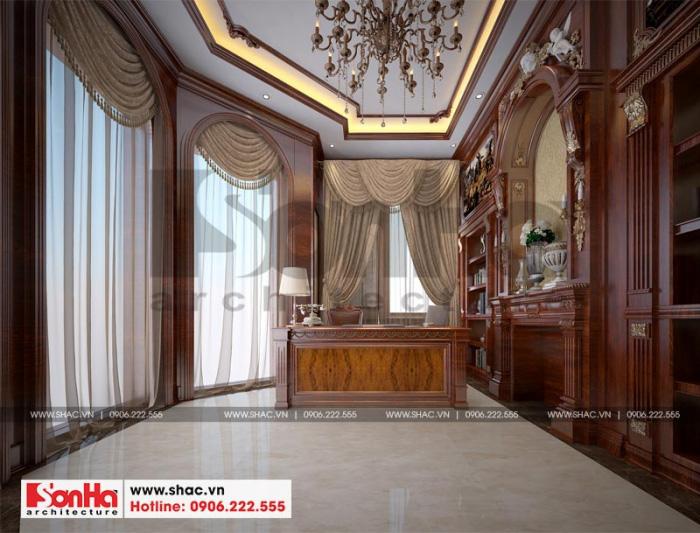 Thiết kế phòng làm việc trong diện tích không lớn nhưng tiện nghi với nội thất gỗ