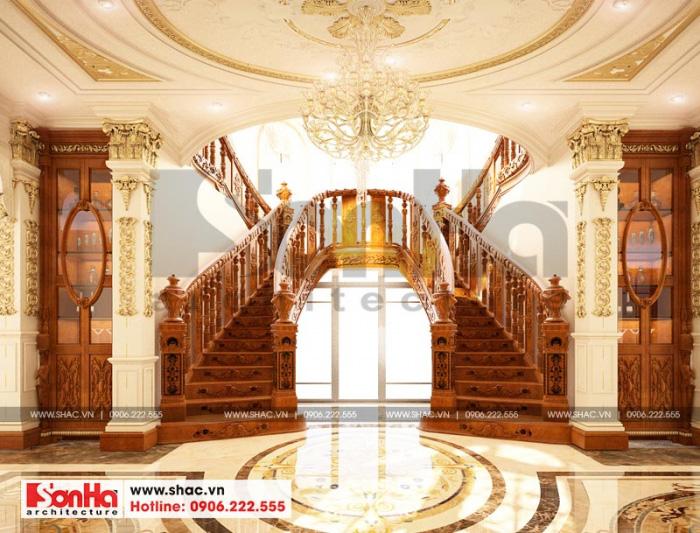 Không gian nội thất ngôi biệt thự Vinhomes Imperia tỏa sáng với sảnh thang này