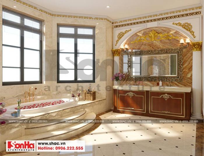 Thiết kế nội thất phòng tắm và xông hơi biệt thự 3 tầng tân cổ điển đẹp mắt
