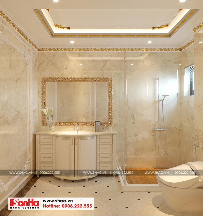 Vật liệu cao cấp cùng thiết kế đẳng cấp làm nên nét khác biệt của phòng tắm này