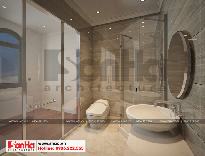 Mẫu thiết kế phòng tắm biệt thự xa hoa với đồ nội thất cao cấp bài trí đẹp
