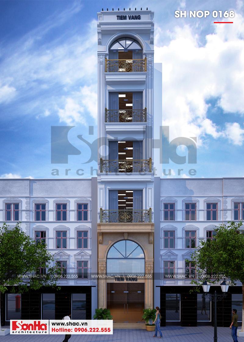 Mẫu nhà phố hình chữ L kiến trúc Pháp kết hợp kinh doanh tại Hà Nội - SH NOP 0168 1