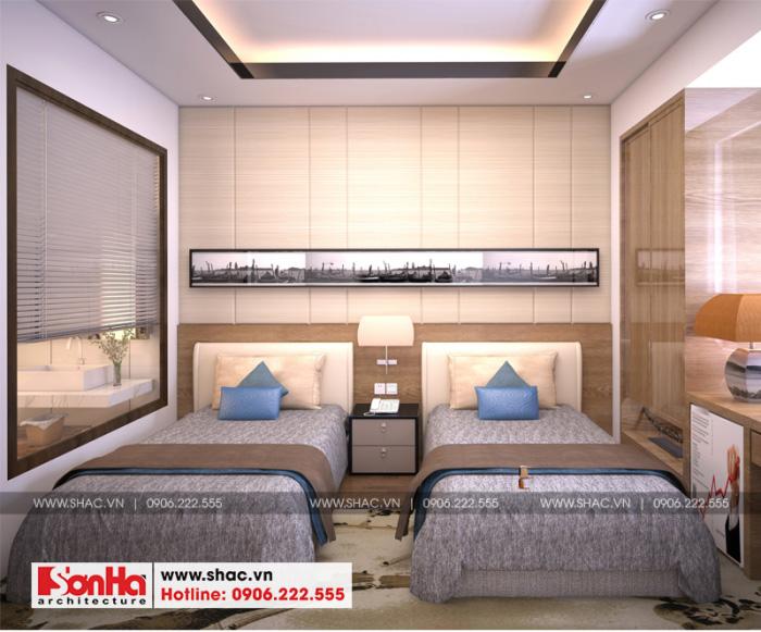 Còn đây là phương án thiết kế phòng ngủ khách sạn bố trí 2 giường ngủ