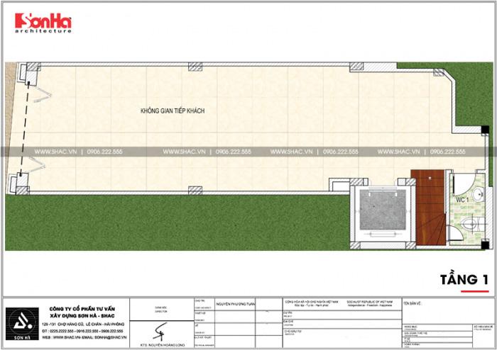 Mặt bằng công năng tầng 1 ngôi nhà hình chữ L kết hợp kinh doanh tại Hà Nội