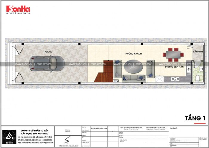 Công năng tầng 1 nhà ống cổ điển Pháp 4 tầng mặt tiền 4m thiết kế đẹp tại Hà Nội
