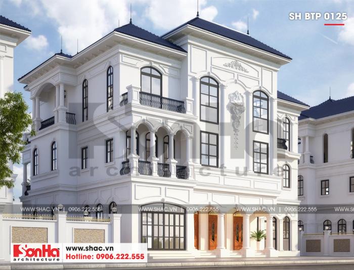 Thiết kế biệt thự 3 tầng tân cổ điển châu Âu đẹp tại Hải Phòng từ mọi góc đặt mắt