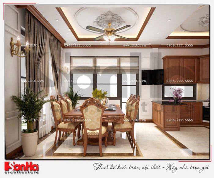 Mẫu thiết kế nội thất phòng bếp ăn phong cách tân cổ điển của biệt thự đẳng cấp