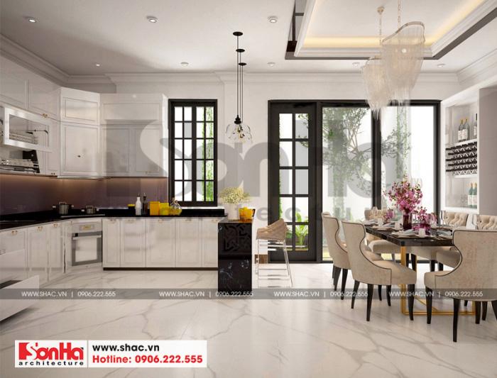 Mẫu thiết kế phòng bếp ăn biệt thự phong cách tân cổ điển thoáng đãng đẹp mắt