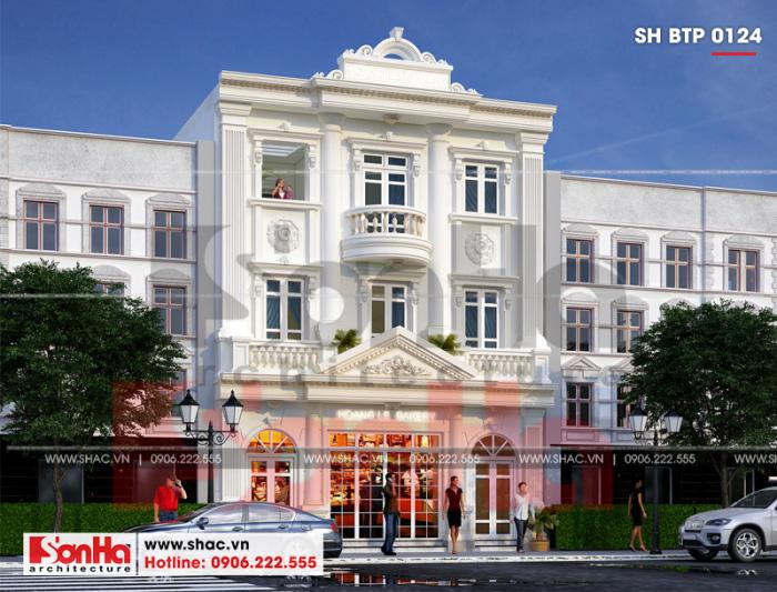 Thiết kế biệt thự kiểu Pháp 3 tầng mặt tiền 9m rộng rãi kết hợp kinh doanh