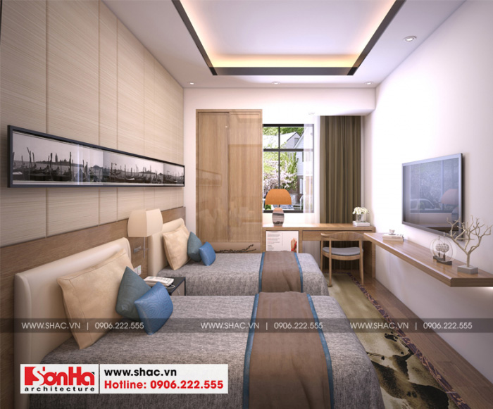 Màu sắc hiện đại hợp thời góp phần làm tôn mẫu phòng ngủ đẹp của khách sạn