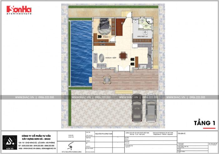 Mặt bằng công năng tầng 1 biệt thự 2 tầng mái thái cho thấy vị trí của bể bơi ngoài trời