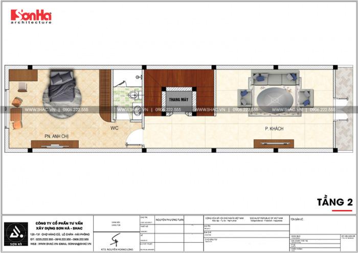 Mặt bằng công năng tầng 2 nhà ống kiến trúc Pháp kết hợp kinh doanh tại Hải Phòng