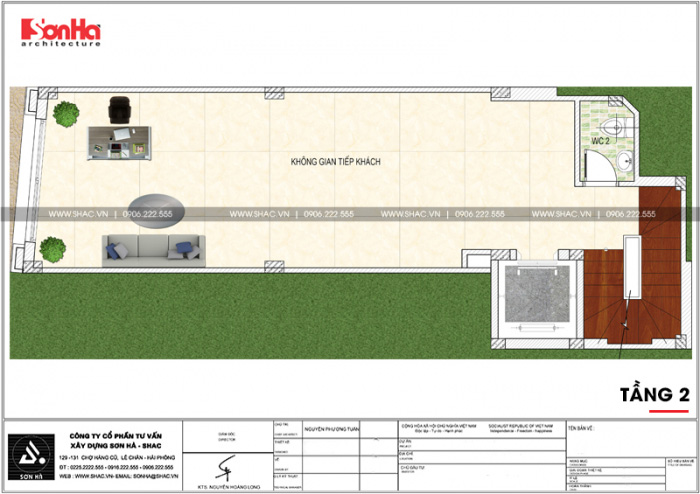 Mặt bằng công năng tầng 2 ngôi nhà hình chữ L kết hợp kinh doanh tại Hà Nội