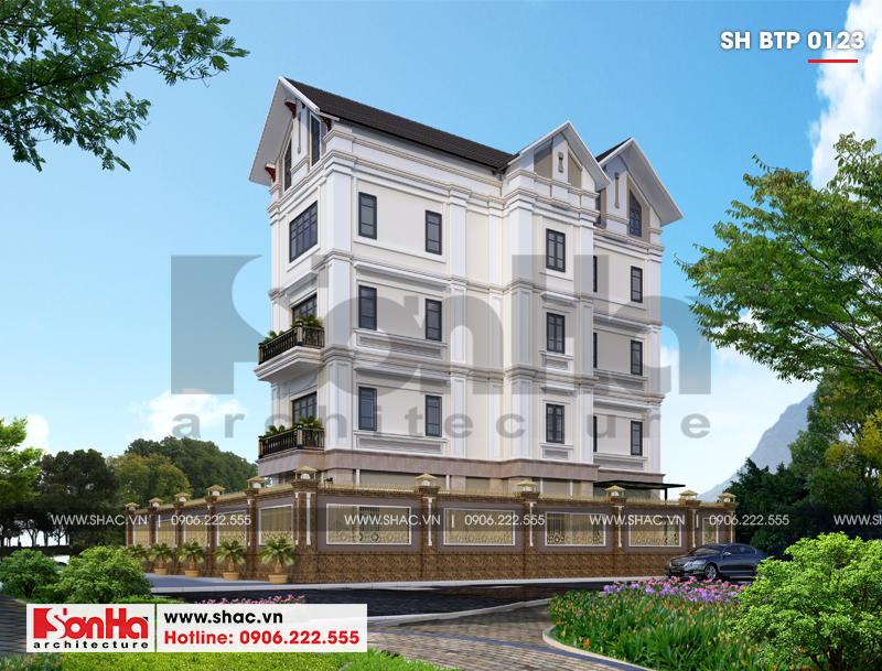 Biệt thự tân cổ điển 4 tầng hình chữ L diện tích 240m2 tại Hải Phòng – SH BTP 0123 5