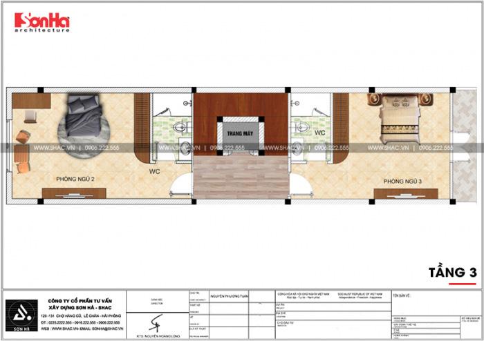 Mặt bằng công năng tầng 3 nhà ống kiến trúc Pháp kết hợp kinh doanh tại Hải Phòng
