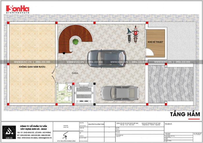 Bản vẽ mặt bằng công năng tầng hầm nhà phố bán biệt thự cổ điển mặt tiền 8m tại Bắc Ninh