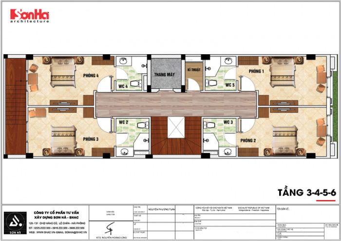 Bản vẽ mặt bằng công năng tầng 3 đến 6 của khách sạn kiến trúc tân cổ điển đẹp