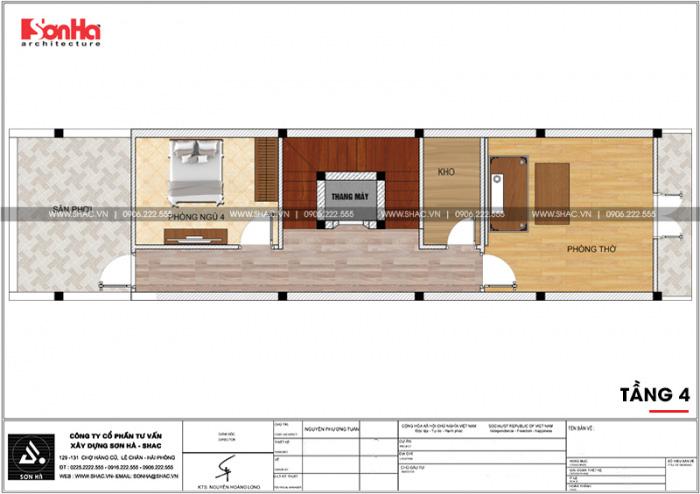 Mặt bằng công năng tầng 4 nhà ống kiến trúc Pháp kết hợp kinh doanh tại Hải Phòng