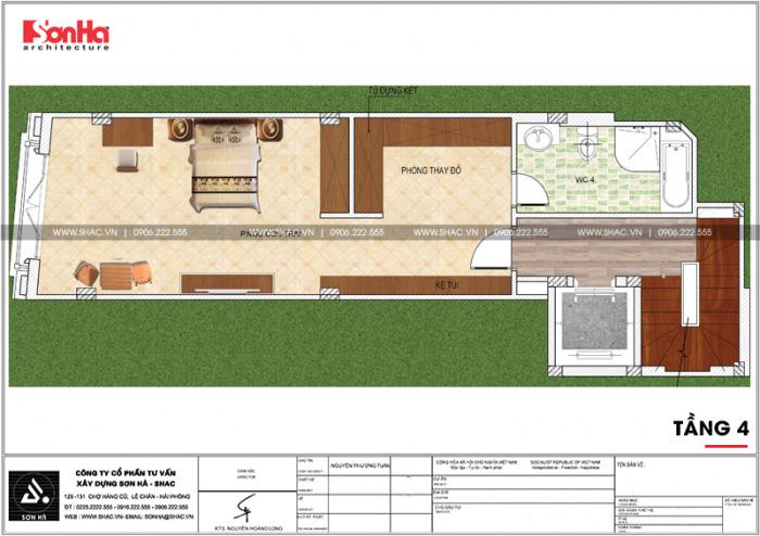 Mặt bằng công năng tầng 4 ngôi nhà hình chữ L kết hợp kinh doanh tại Hà Nội