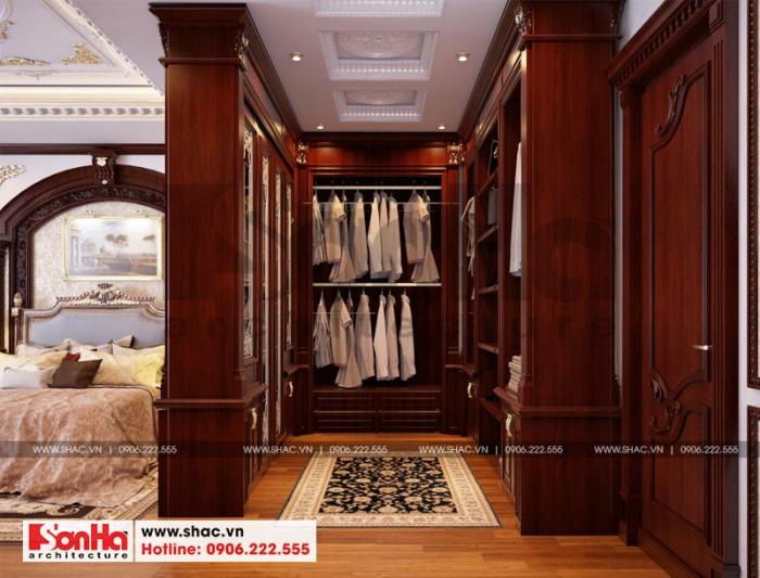 Khu vực phòng thay đồ được bố trí trong phòng ngủ master của biệt thự 3 tầng