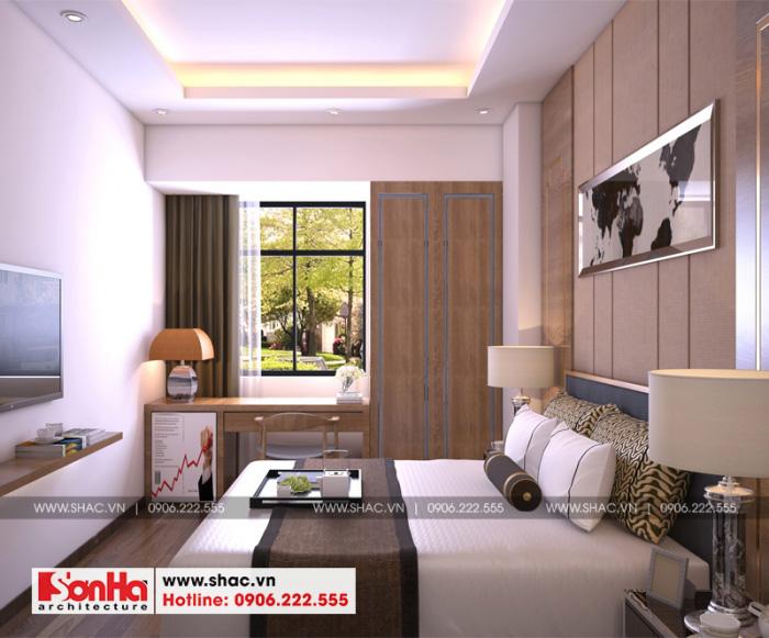 Không gian nội thất phòng ngủ khách sạn 2 sao nổi bật với đồ nội thất gỗ