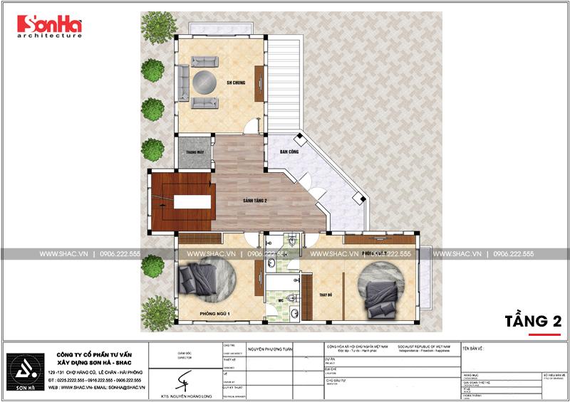 Biệt thự tân cổ điển 4 tầng hình chữ L diện tích 240m2 tại Hải Phòng – SH BTP 0123 7