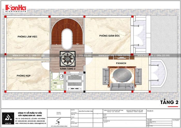 Bản vẽ mặt bằng công năng tầng 2 nhà phố bán biệt thự cổ điển mặt tiền 8m tại Bắc Ninh