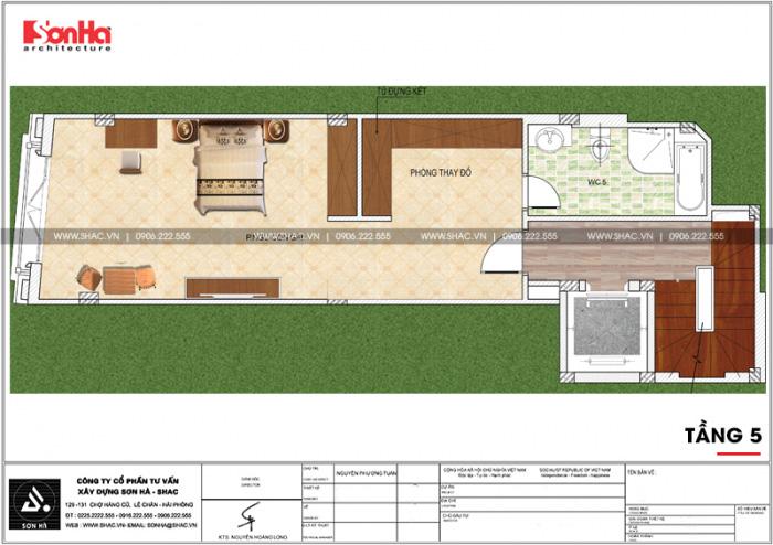 Mặt bằng công năng tầng 5 ngôi nhà hình chữ L kết hợp kinh doanh tại Hà Nội