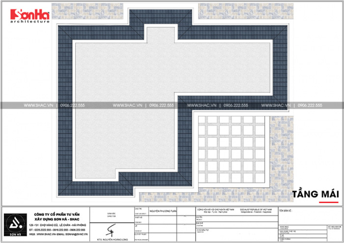 Mặt bằng công năng tầng mái biệt thự lâu đài châu âu 4 tầng tại Đà Nẵng