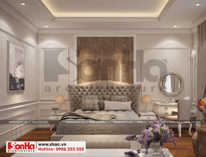 Mẫu nội thất phòng ngủ tân cổ điển đẹp với gam màu trầm ấm áp tinh tế